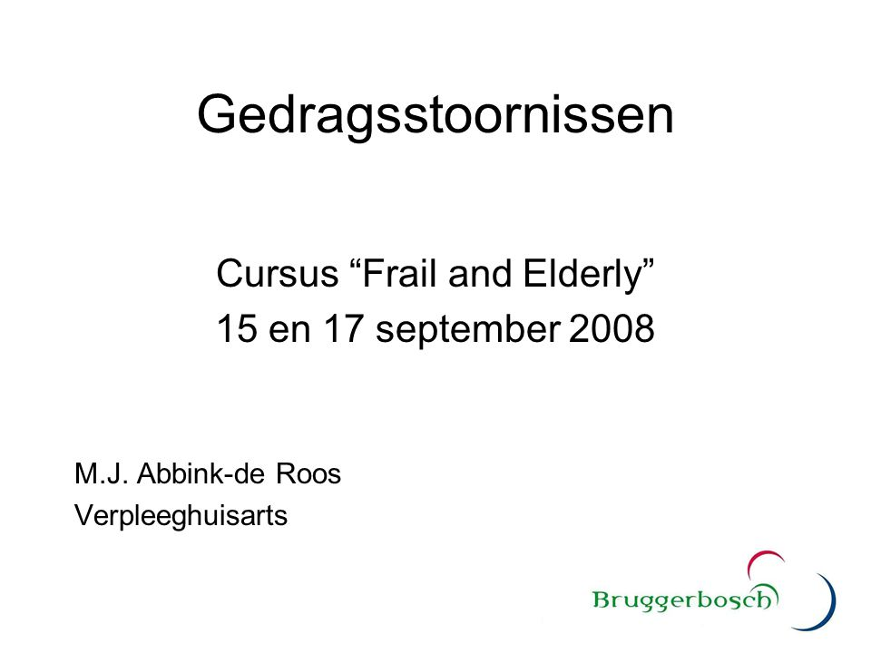 Cursus Frail and Elderly