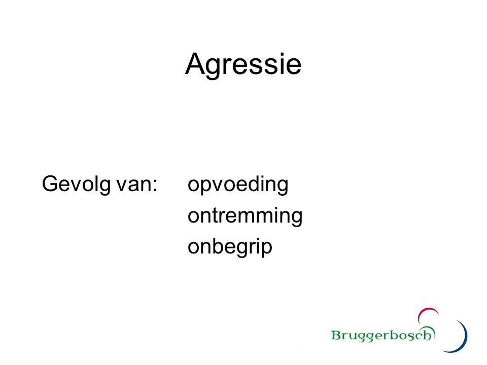 Agressie Gevolg van: opvoeding ontremming onbegrip