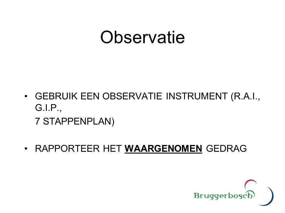 Observatie GEBRUIK EEN OBSERVATIE INSTRUMENT (R.A.I., G.I.P.,