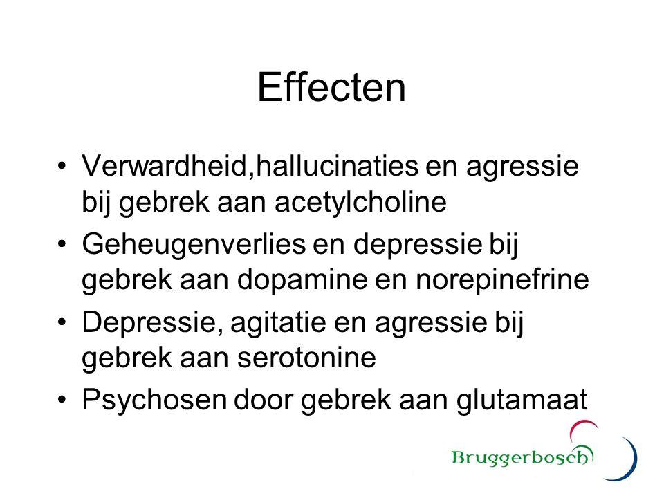 Effecten Verwardheid,hallucinaties en agressie bij gebrek aan acetylcholine. Geheugenverlies en depressie bij gebrek aan dopamine en norepinefrine.