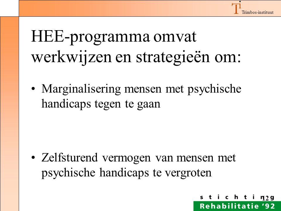 HEE-programma omvat werkwijzen en strategieën om: