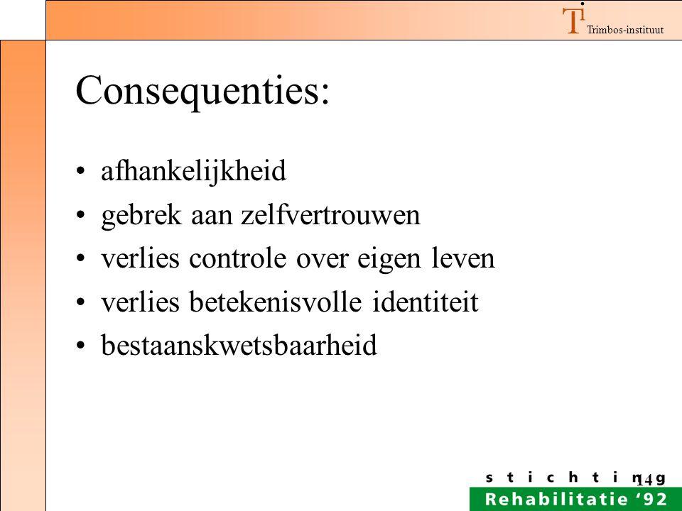 Consequenties: afhankelijkheid gebrek aan zelfvertrouwen