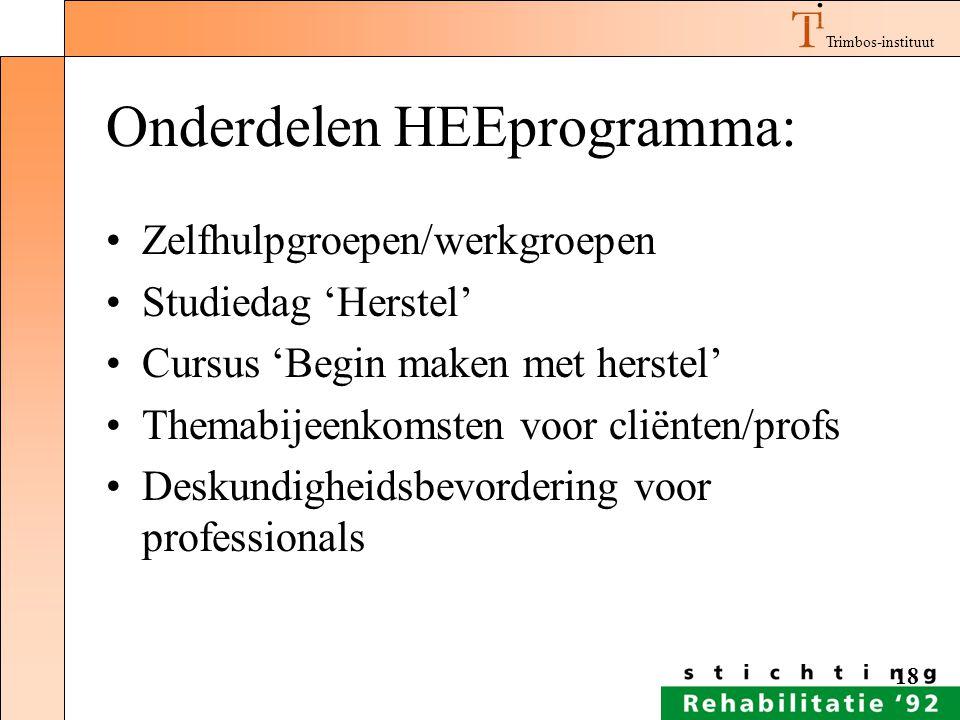 Onderdelen HEEprogramma: