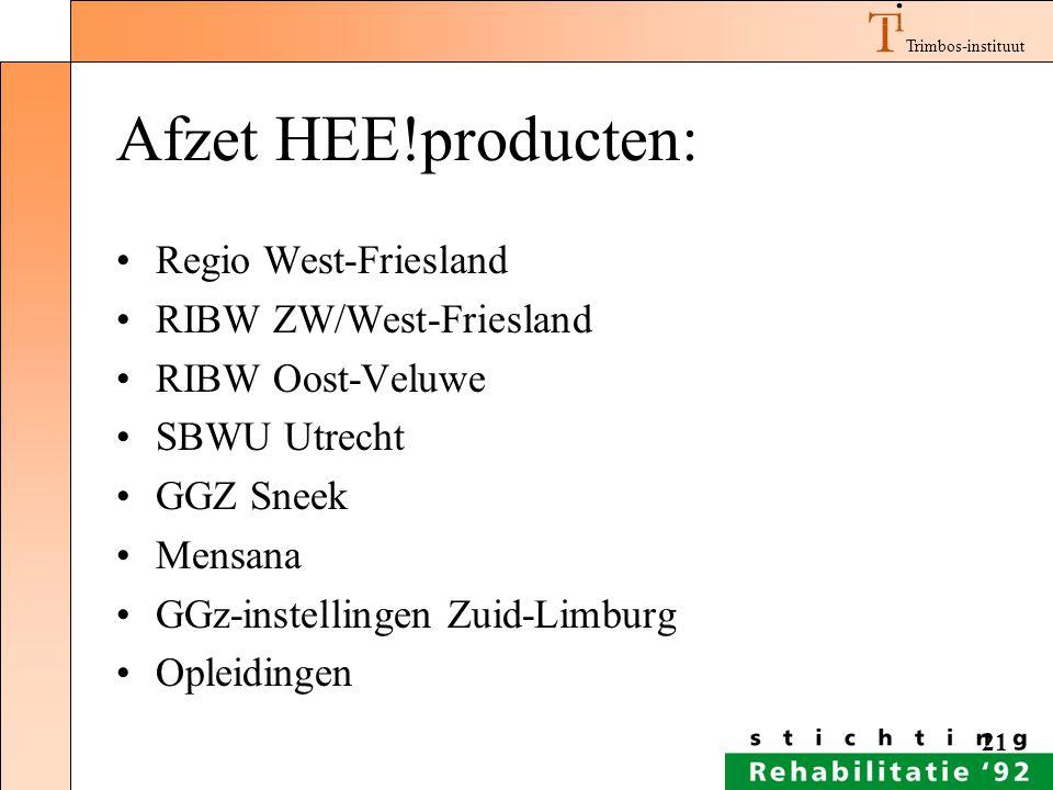 Afzet HEE!producten: Regio West-Friesland RIBW ZW/West-Friesland