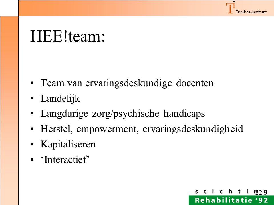 HEE!team: Team van ervaringsdeskundige docenten Landelijk
