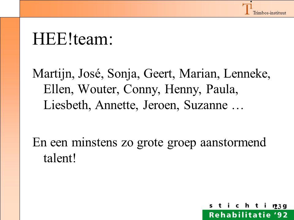 HEE!team: Martijn, José, Sonja, Geert, Marian, Lenneke, Ellen, Wouter, Conny, Henny, Paula, Liesbeth, Annette, Jeroen, Suzanne …