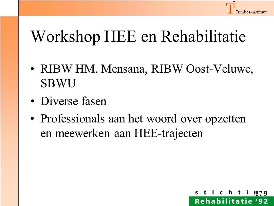 Workshop HEE en Rehabilitatie