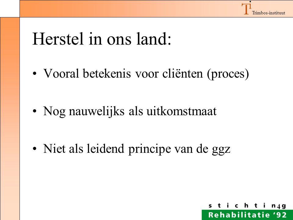 Herstel in ons land: Vooral betekenis voor cliënten (proces)