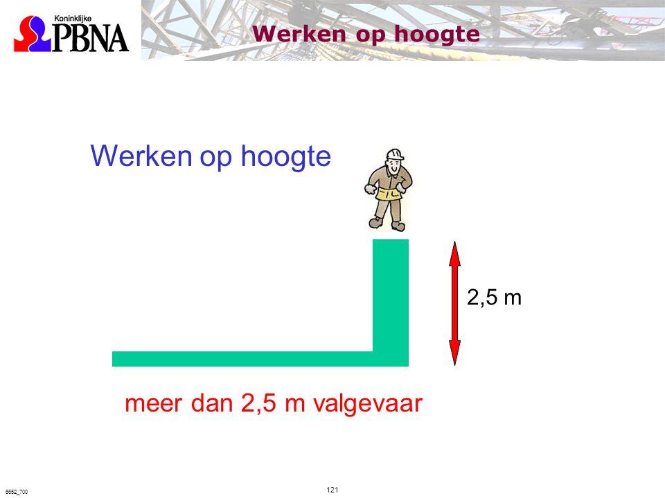 Werken op hoogte meer dan 2,5 m valgevaar Werken op hoogte 2,5 m