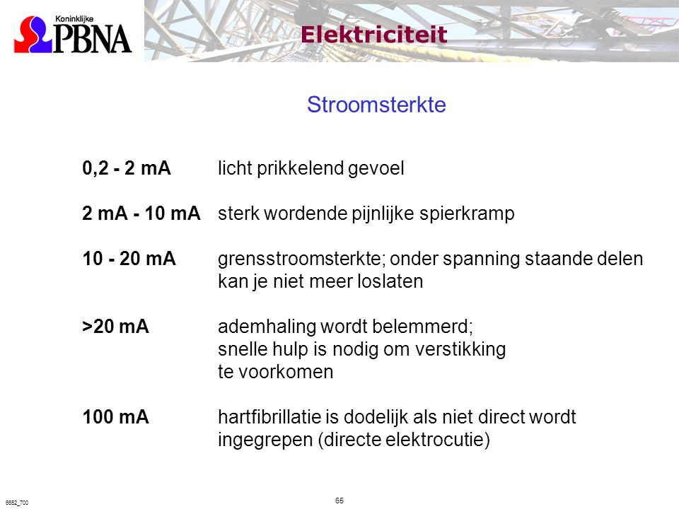 Elektriciteit Stroomsterkte 0,2 - 2 mA licht prikkelend gevoel