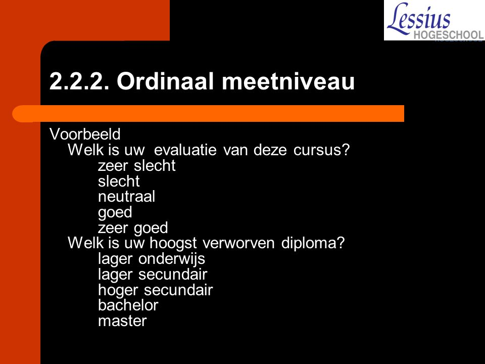 2.2.2. Ordinaal meetniveau