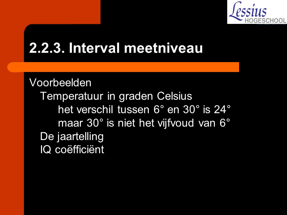 2.2.3. Interval meetniveau