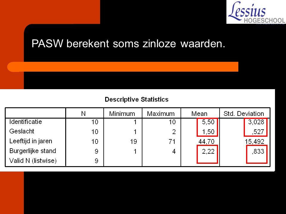 PASW berekent soms zinloze waarden.
