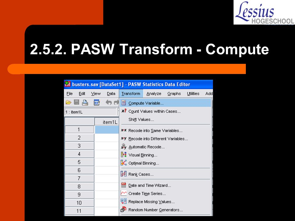 2.5.2. PASW Transform - Compute