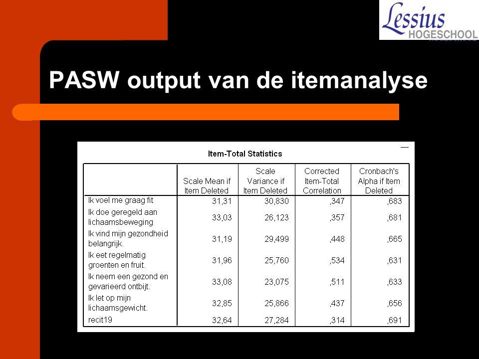 PASW output van de itemanalyse