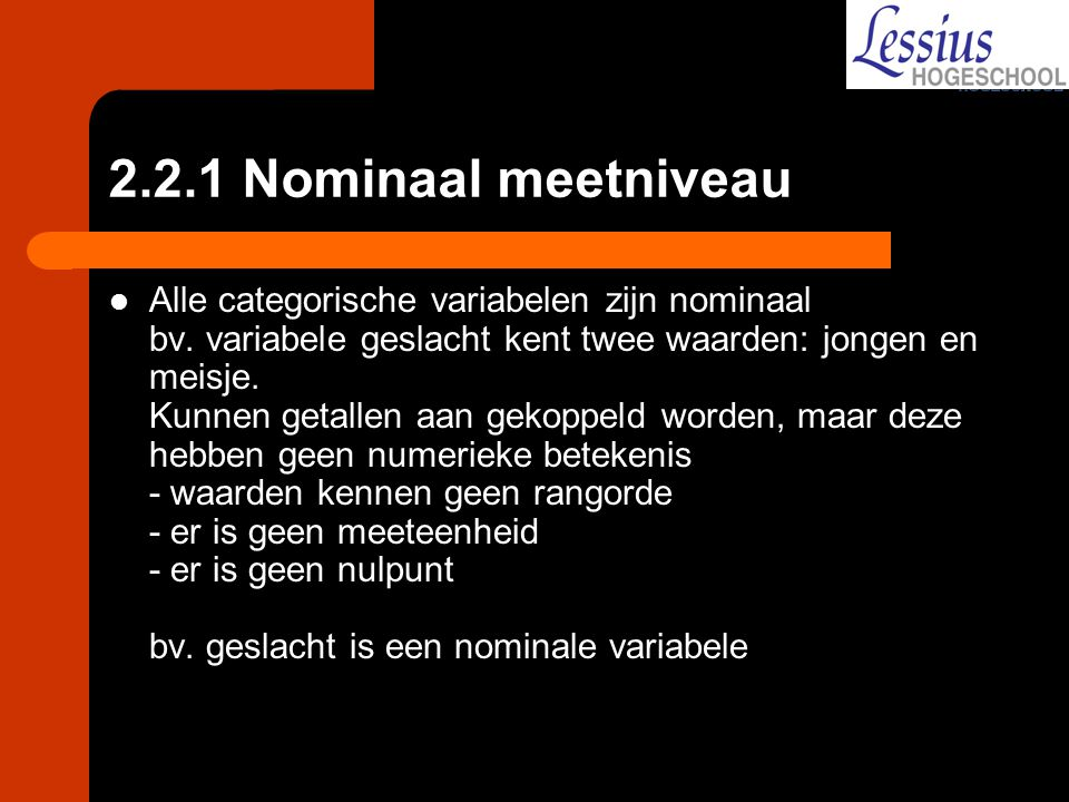 2.2.1 Nominaal meetniveau