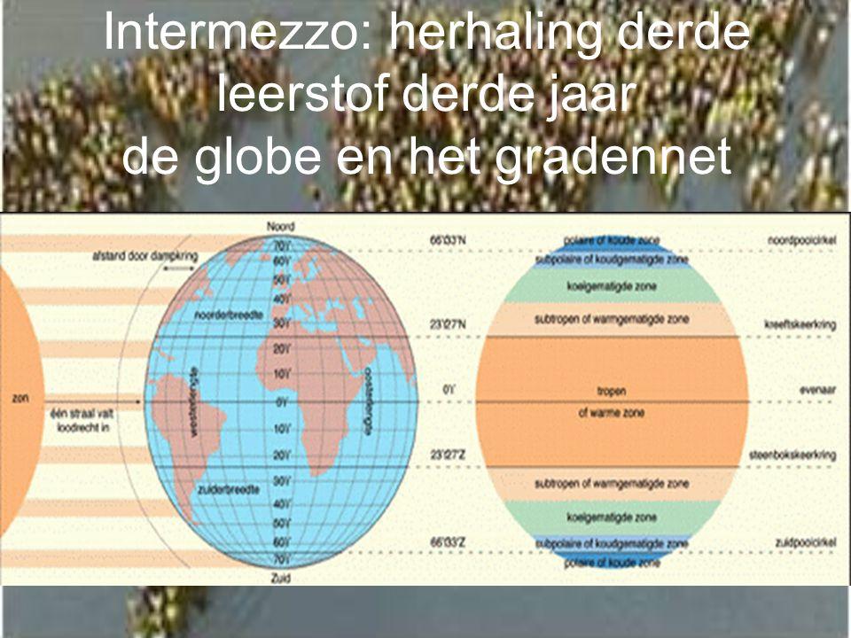Intermezzo: herhaling derde leerstof derde jaar de globe en het gradennet