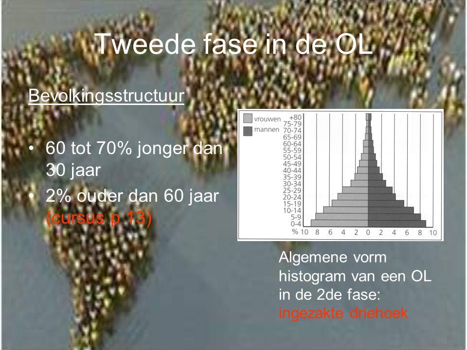 Tweede fase in de OL Bevolkingsstructuur 60 tot 70% jonger dan 30 jaar