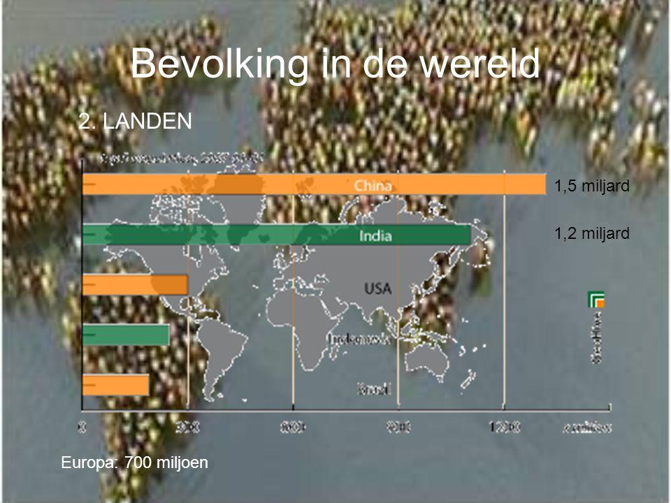 Bevolking in de wereld 2. LANDEN 1,5 miljard 1,2 miljard