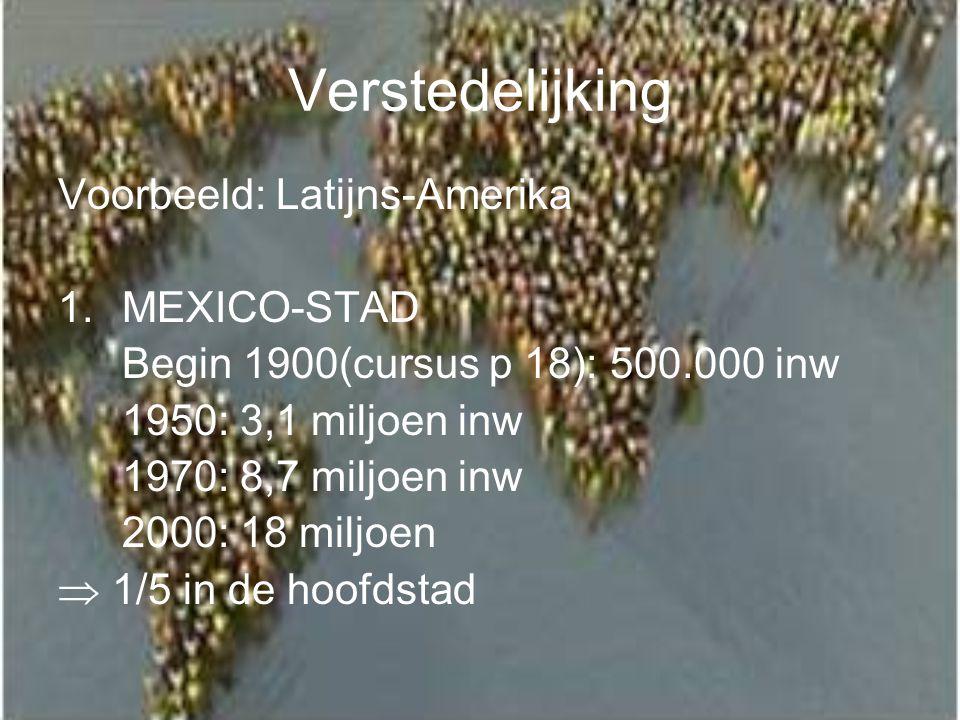 Verstedelijking Voorbeeld: Latijns-Amerika MEXICO-STAD