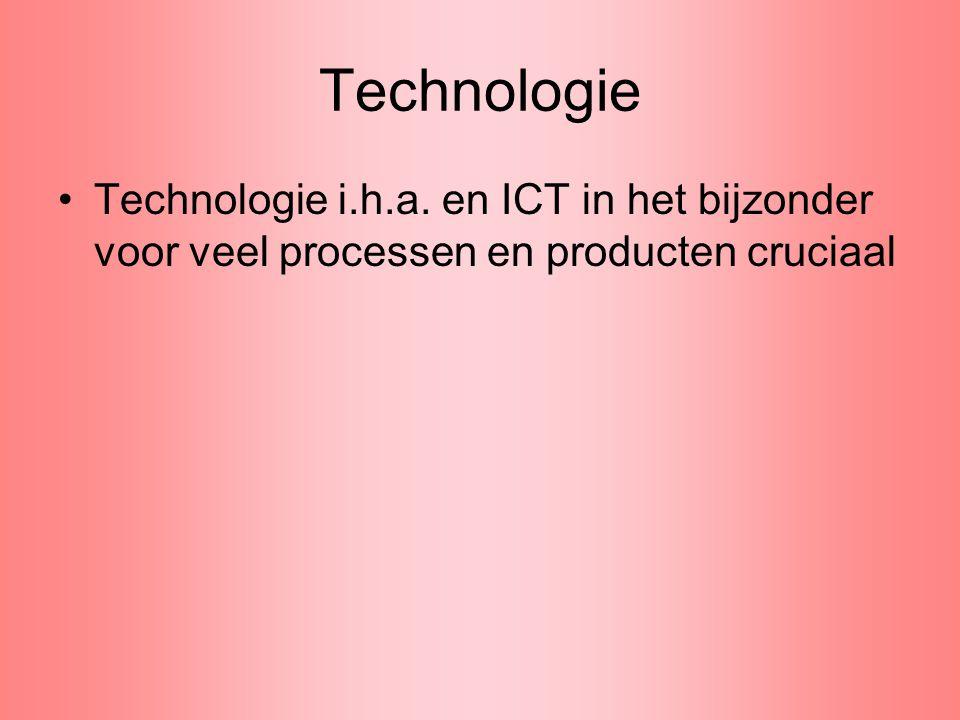 Technologie Technologie i.h.a. en ICT in het bijzonder voor veel processen en producten cruciaal