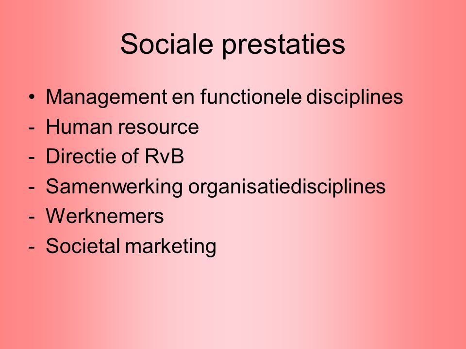 Sociale prestaties Management en functionele disciplines