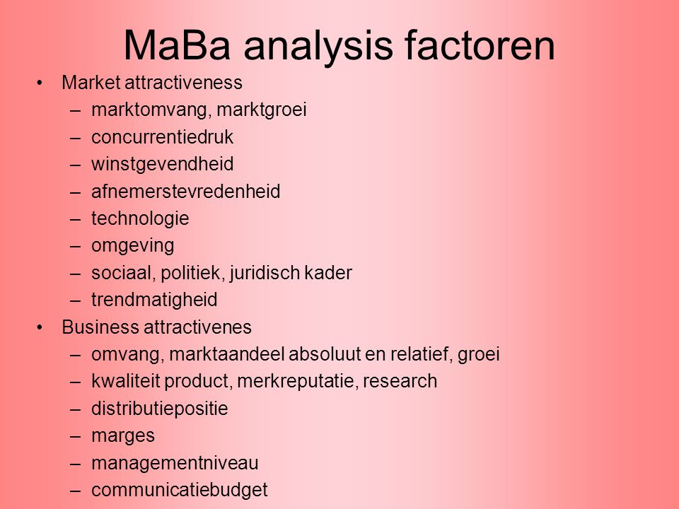 MaBa analysis factoren