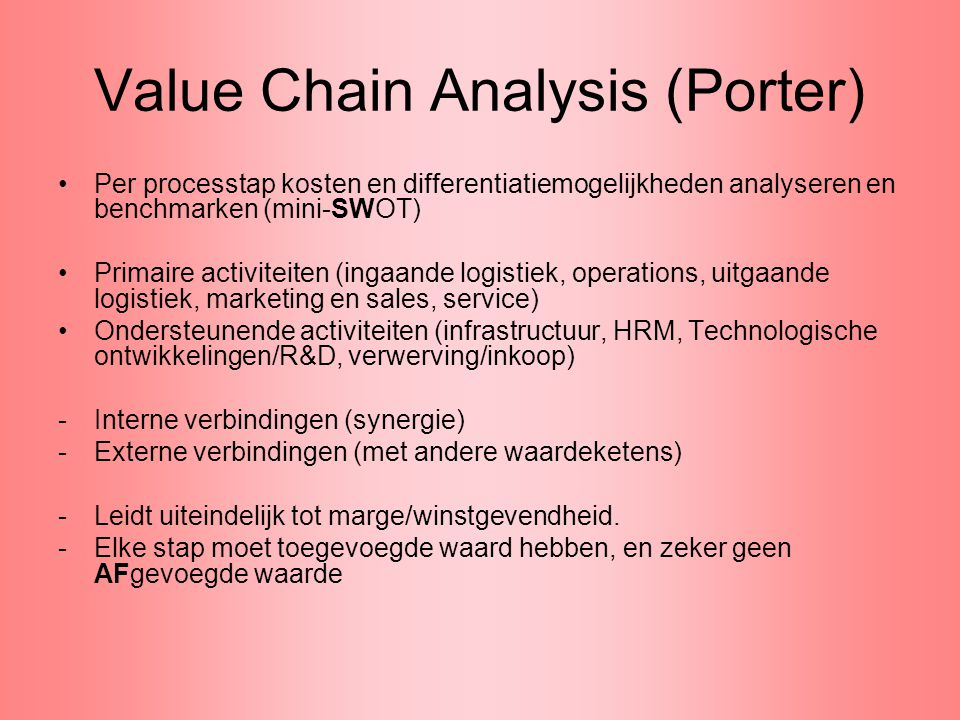 Value Chain Analysis (Porter)
