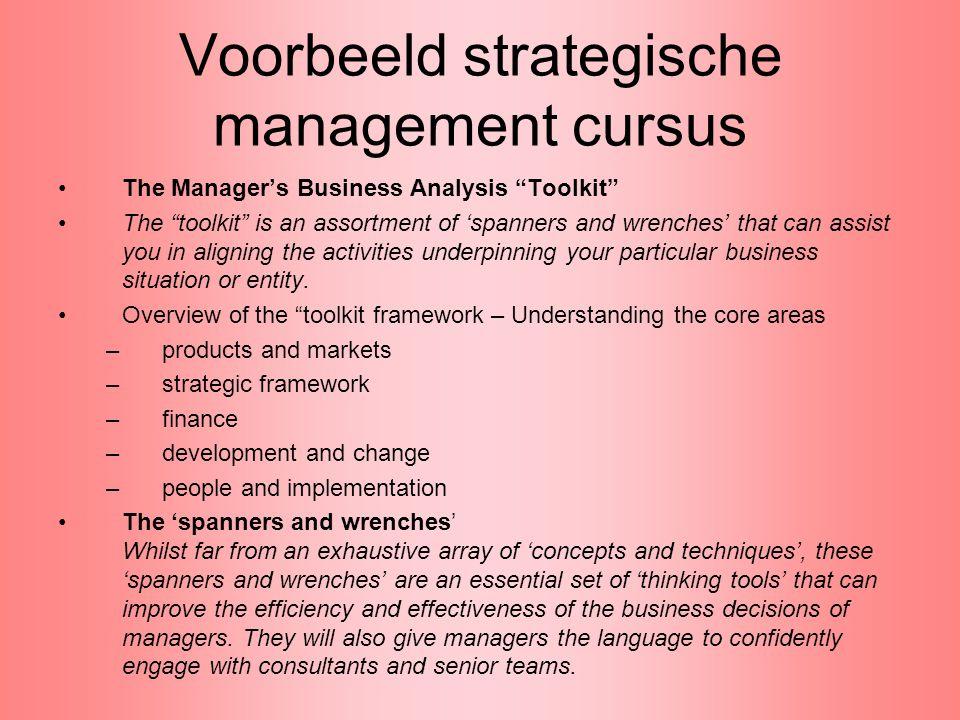 Voorbeeld strategische management cursus