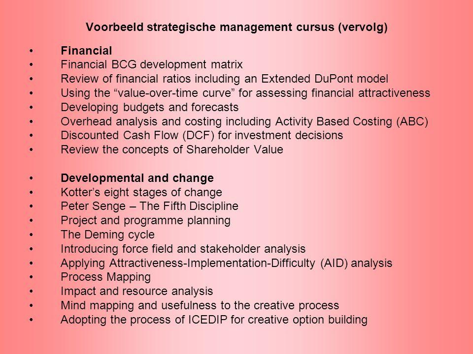Voorbeeld strategische management cursus (vervolg)