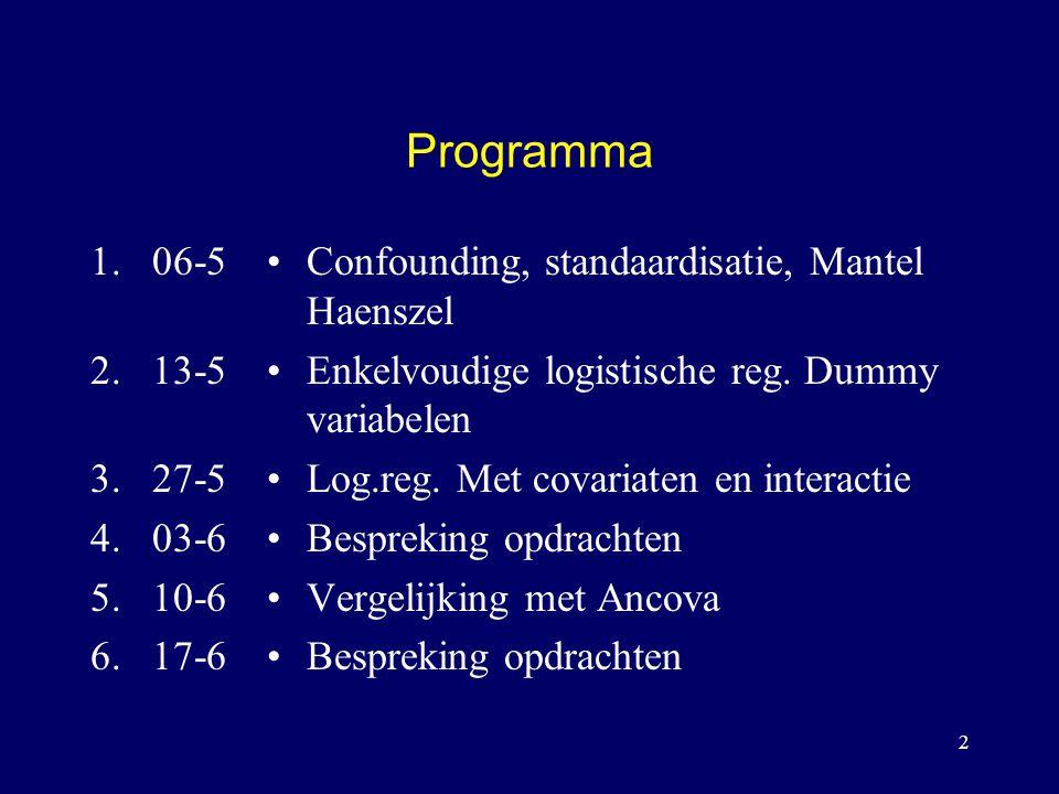 Programma 06-5. 13-5. 27-5. 03-6. 10-6. 17-6. Confounding, standaardisatie, Mantel Haenszel. Enkelvoudige logistische reg. Dummy variabelen.
