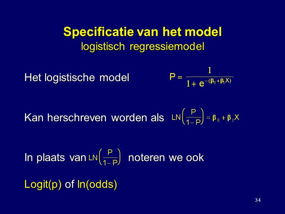 Specificatie van het model logistisch regressiemodel