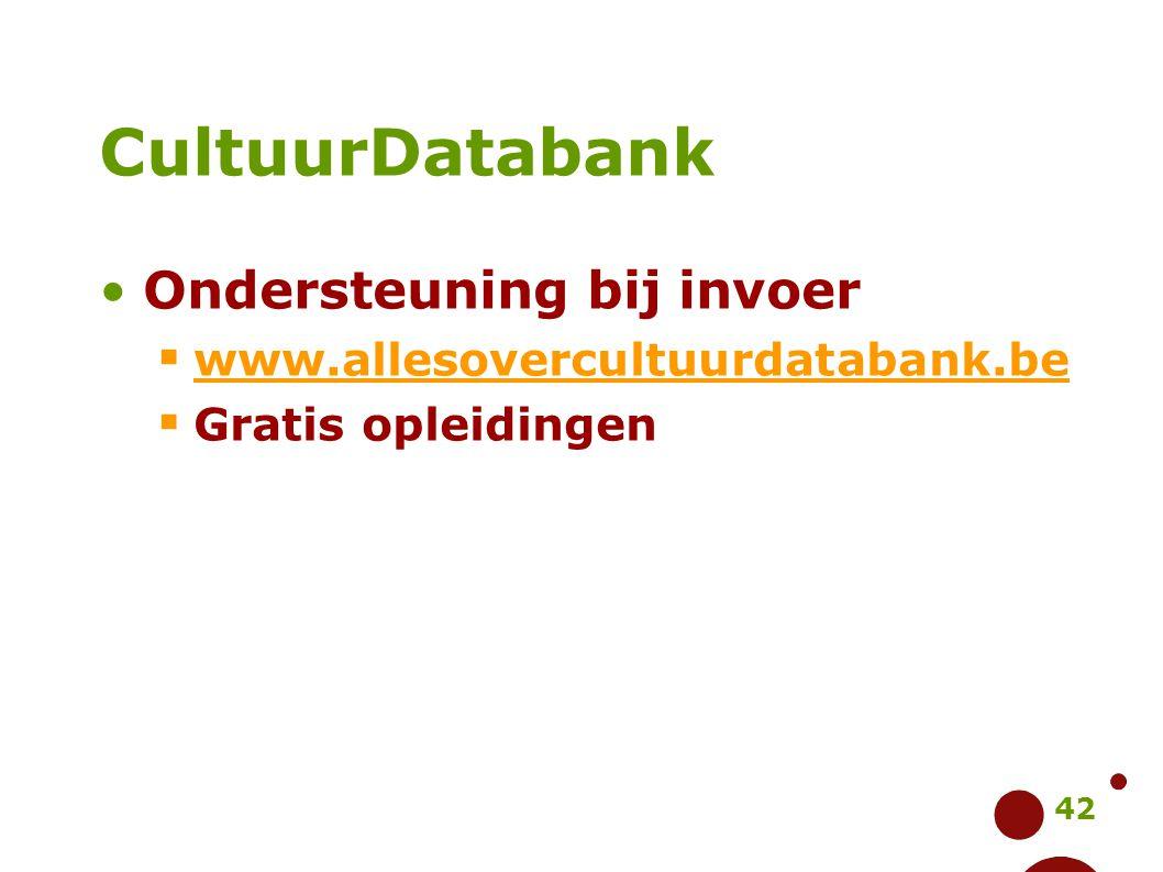 CultuurDatabank Ondersteuning bij invoer