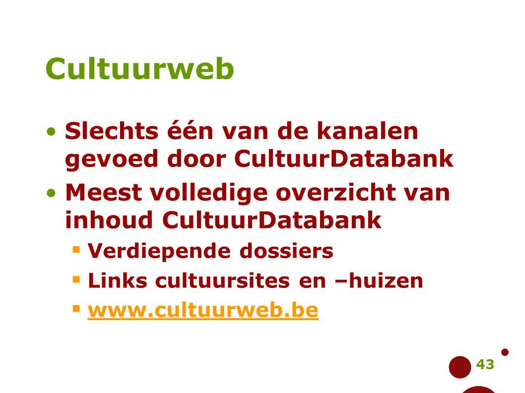 Cultuurweb Slechts één van de kanalen gevoed door CultuurDatabank