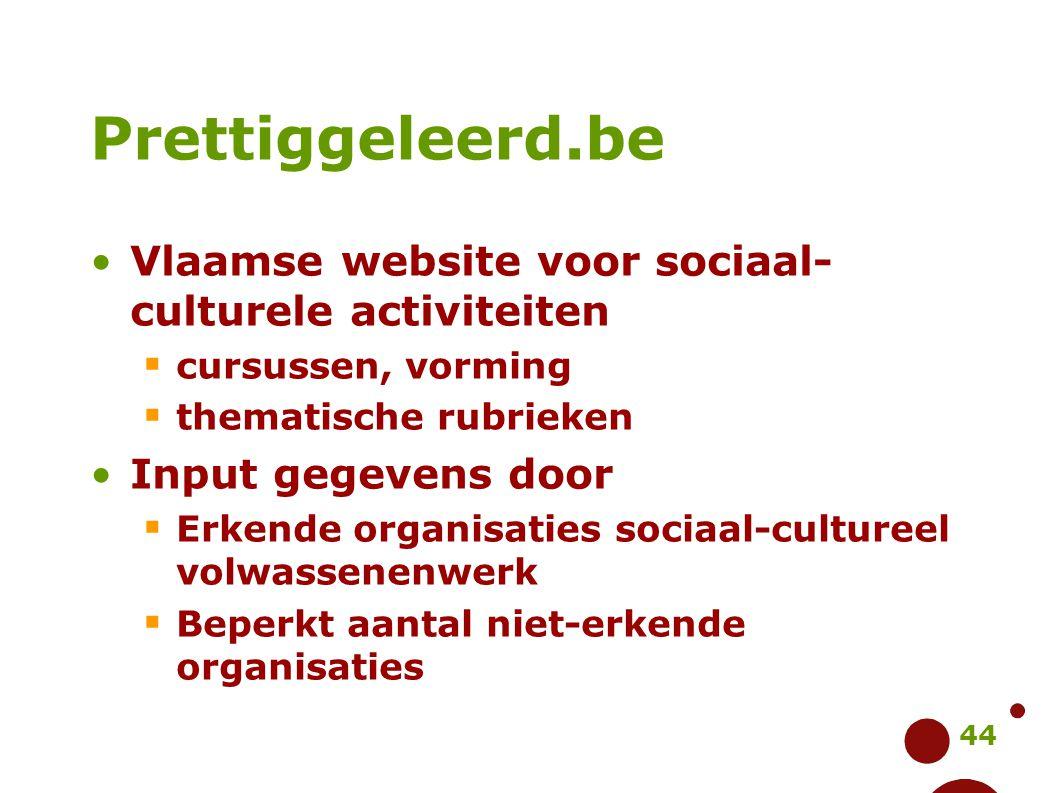 Prettiggeleerd.be Vlaamse website voor sociaal-culturele activiteiten