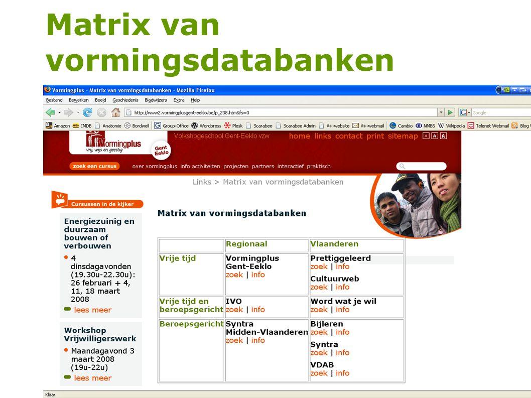 Matrix van vormingsdatabanken