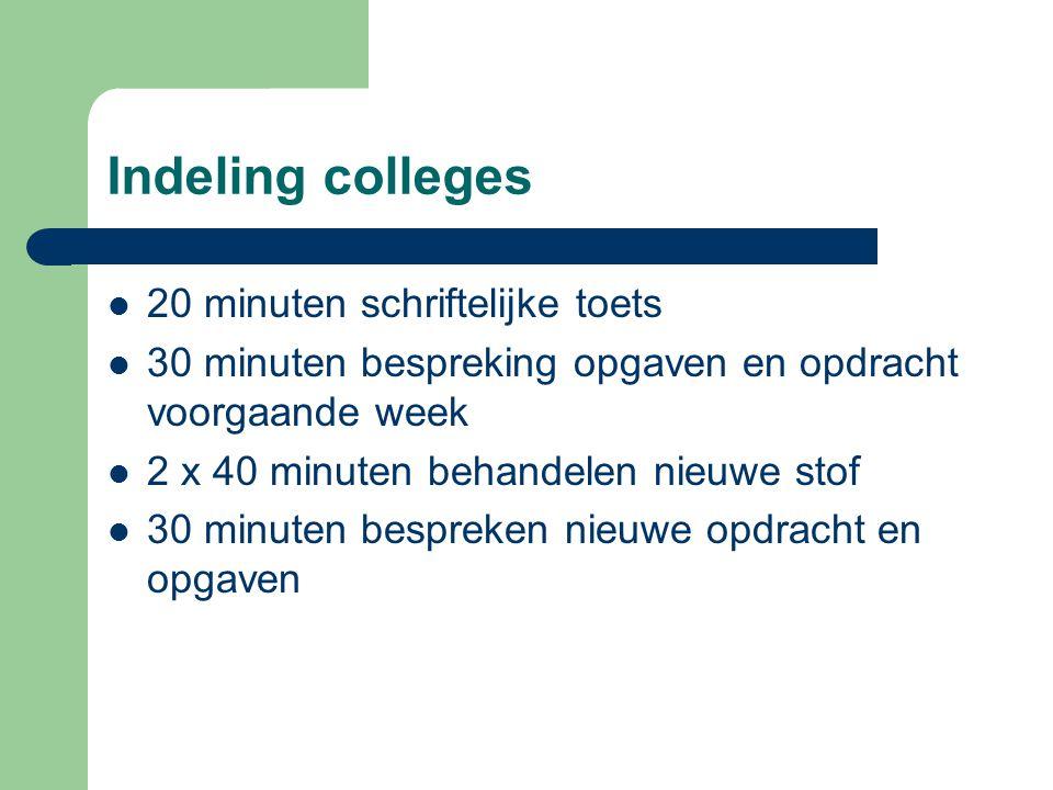 Indeling colleges 20 minuten schriftelijke toets