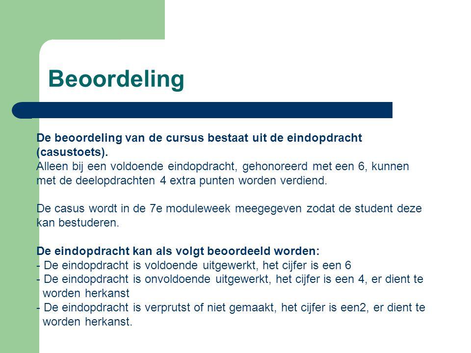 Beoordeling De beoordeling van de cursus bestaat uit de eindopdracht (casustoets).