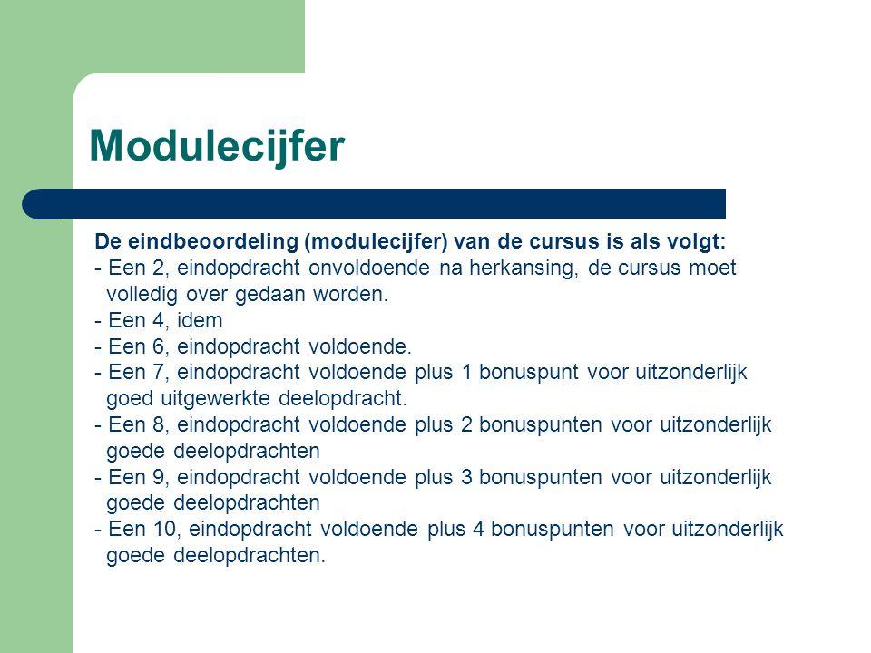 Modulecijfer De eindbeoordeling (modulecijfer) van de cursus is als volgt: Een 2, eindopdracht onvoldoende na herkansing, de cursus moet.