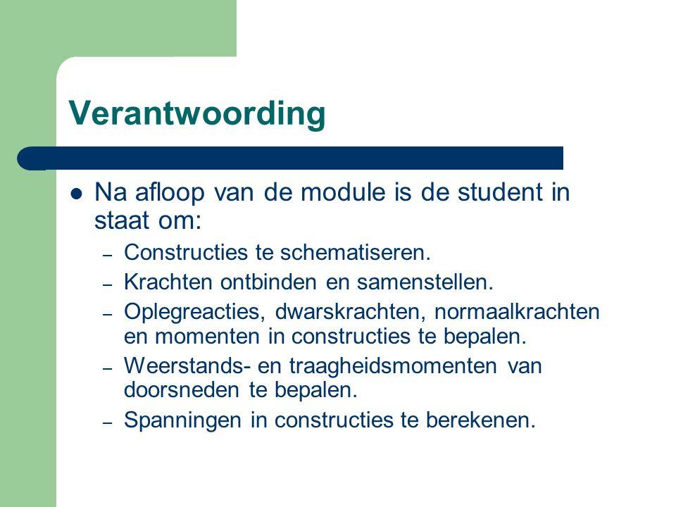 Verantwoording Na afloop van de module is de student in staat om: