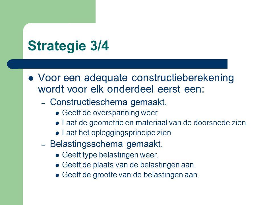 Strategie 3/4 Voor een adequate constructieberekening wordt voor elk onderdeel eerst een: Constructieschema gemaakt.