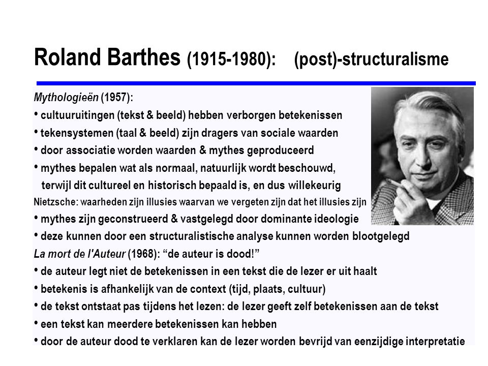 Roland Barthes (1915-1980): (post)-structuralisme
