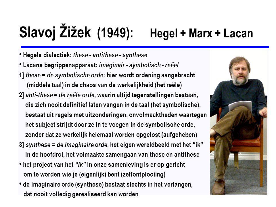 Slavoj Žižek (1949): Hegel + Marx + Lacan