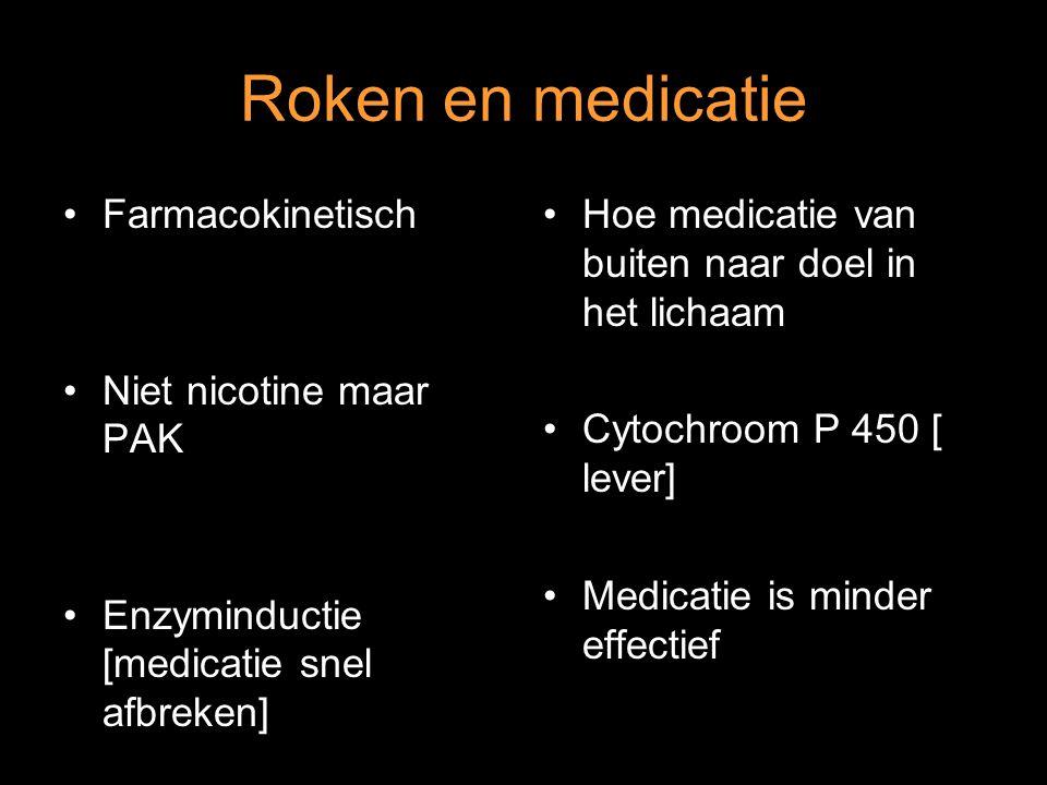 Roken en medicatie Farmacokinetisch Niet nicotine maar PAK