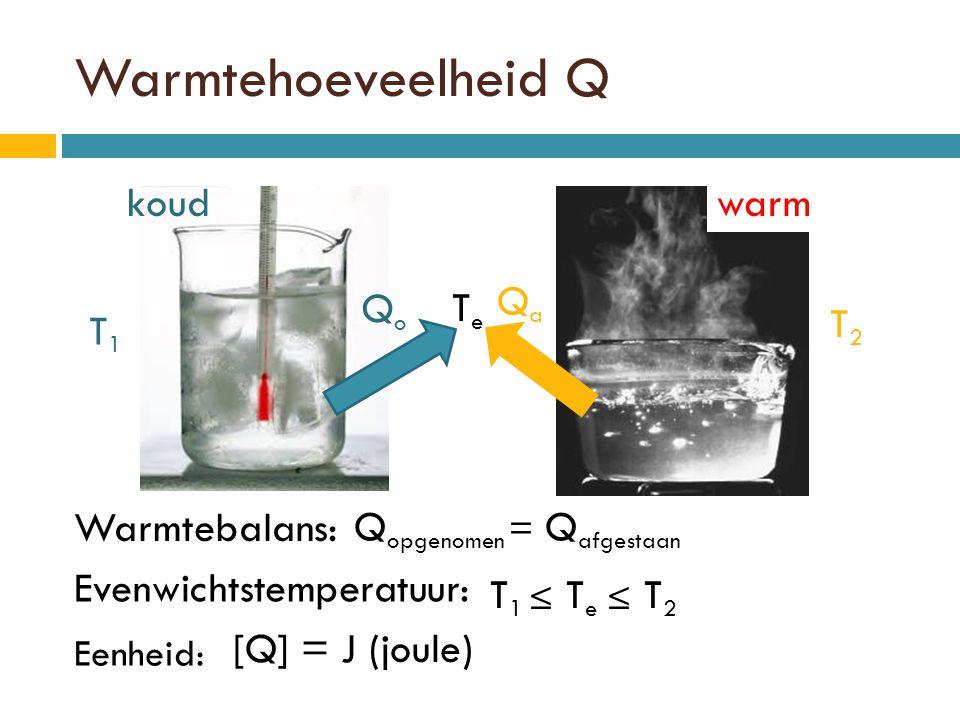 Warmtehoeveelheid Q koud warm Qa Qo Te T2 T1 Warmtebalans: