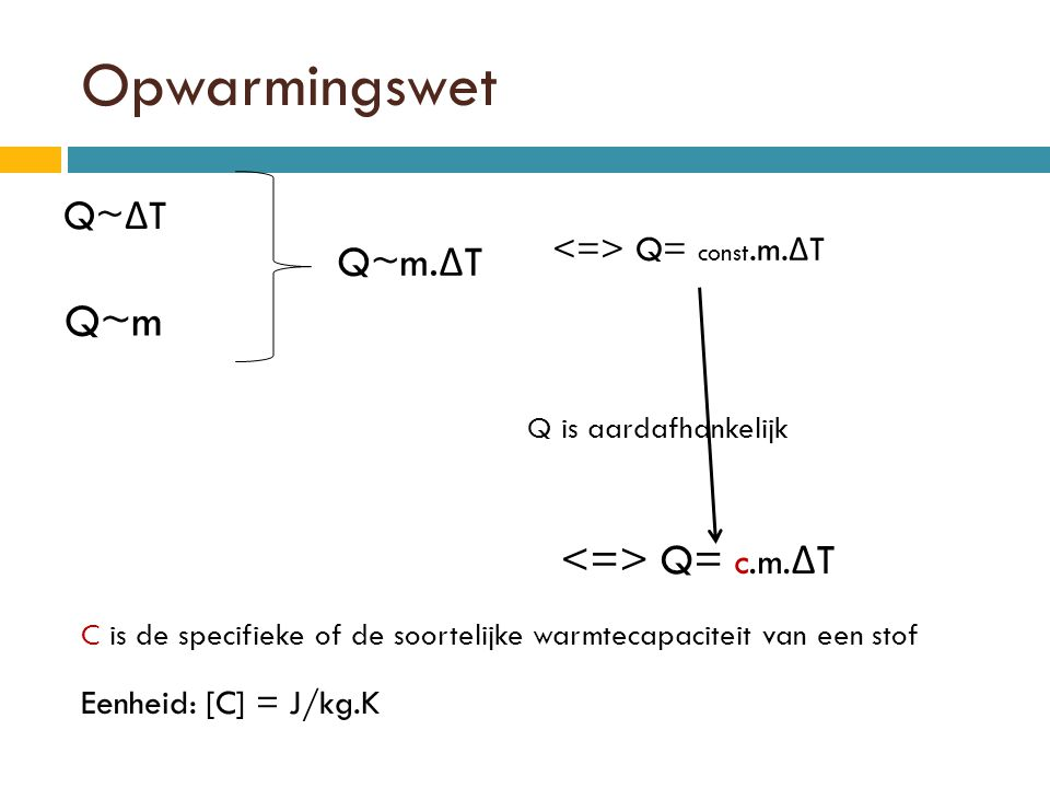 Opwarmingswet Q~m Q~m.ΔT <=> Q= c.m.ΔT Q~ΔT