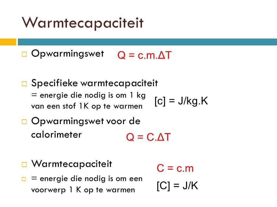 Warmtecapaciteit Opwarmingswet