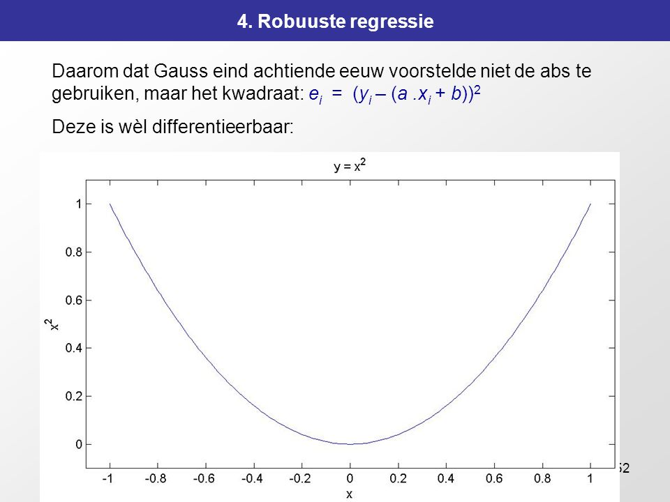 4. Robuuste regressie Daarom dat Gauss eind achtiende eeuw voorstelde niet de abs te gebruiken, maar het kwadraat: ei = (yi – (a .xi + b))2.