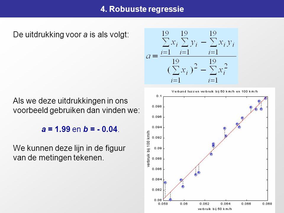 4. Robuuste regressie De uitdrukking voor a is als volgt: Als we deze uitdrukkingen in ons. voorbeeld gebruiken dan vinden we: