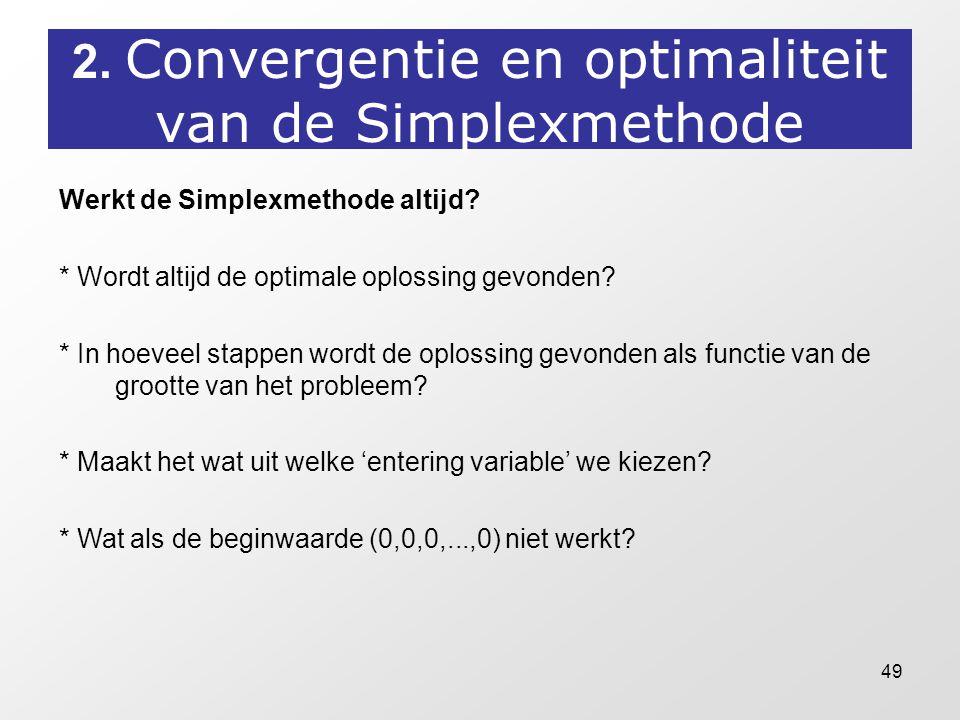 2. Convergentie en optimaliteit van de Simplexmethode